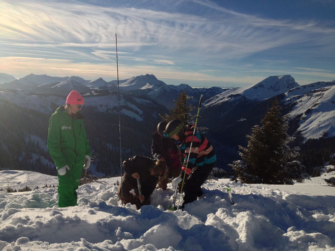 Practicing digging for avalanche victims