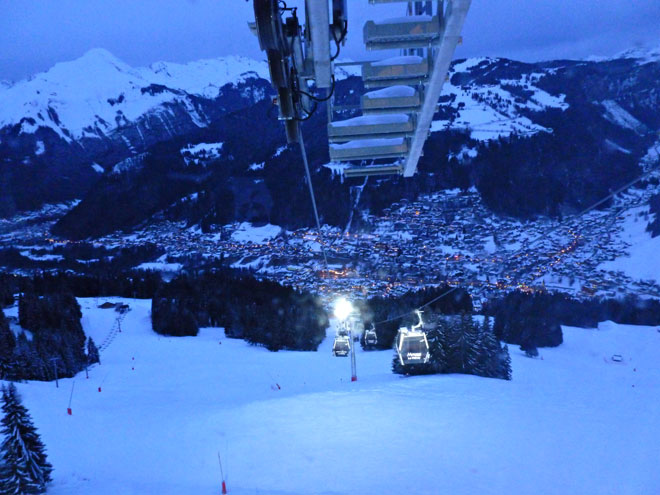 View of Morzine from Pleney at dusk